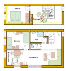 Der Grundrissplan des Appartement Schusterkogel