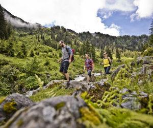 Eine Gruppe von Wanderern in den sonnigen Saalbacher Bergen