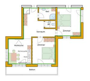 Der Grundrissplan des Appartement Penhab