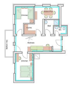 der Grundrissplan des Appartement Tristkogel