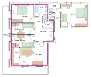 Der Grundrisssplan des Appartement Gamshag