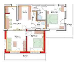 Der Grundrissplan des Appartement Zwölferkogel